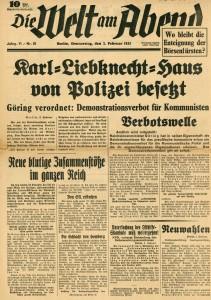 Die Welt am Abend vom 2. Februar 1933