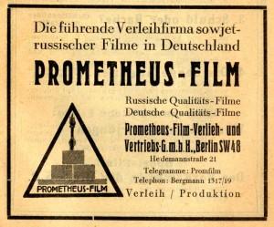 Autor: self fotographed, Foto: Führer durch die Sowjetunion, Neuer Deutscher Verlag, Berlin 1928, Quelle: http://upload.wikimedia.org/wikipedia/commons/8/80/Prometheus-Film_promotion_1928.jpg